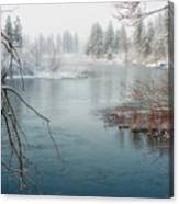 Snowy Day On The River Canvas Print