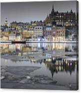 Snowy, Dreamy Reflection In Stockholm Canvas Print