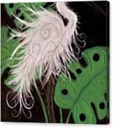 Snowy Egret Deco Canvas Print