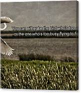 Snowy Egret Inspirational Quote Canvas Print