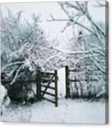 Snowy Garden Gate Three Canvas Print