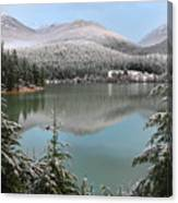Snowy Green Lake Sunset Whistler B.c Canada Canvas Print