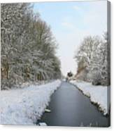 Frozen Scenery Along Canal Canvas Print