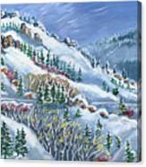Snowy Mountain Road Canvas Print
