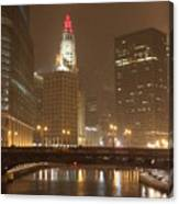 Snowy Night In Chicago Canvas Print