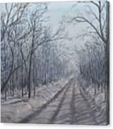 Snowy Road At Dawn  Canvas Print