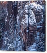 Snowy Rocks. Saxon Switzerland Canvas Print