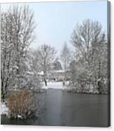 Snowy Scenery Round Canals Canvas Print