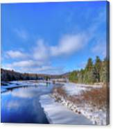 Snowy Shore Of The Moose River Canvas Print