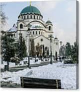 Snowy St. Sava Temple In Belgrade Canvas Print