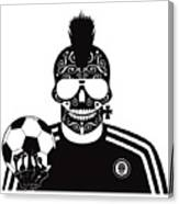 Soccer Skull Icon Background With Sunglasses And Ball. Canvas Print