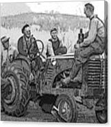 Social Gathering At The Tractor Canvas Print