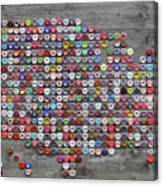 Soda Pop Bottle Cap Map Of The United States Of America Canvas Print