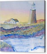 Soft Blue And A Light House Canvas Print
