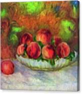 Soft Peaches Still Life Canvas Print