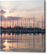 Softly - God Rays And Yachts In Rose Gold And Amethyst  Canvas Print