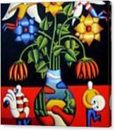 Softvase With Flowers And Figures Canvas Print