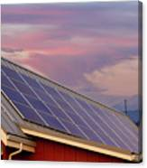 Solar Panels On Roof Of House Canvas Print