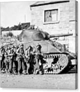 Soldiers And Their Tank Advance Canvas Print
