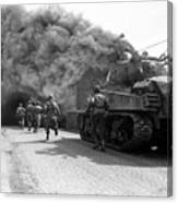 Soldiers Move Through A Smoke Filled Canvas Print