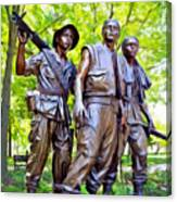 Soldiers Statue At The Vietnam Wall Canvas Print