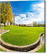 Solin Park And Church Panoramic View Canvas Print