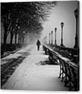 Solitary Man In The Snow Canvas Print