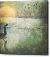 Solitary--walking In Water Canvas Print