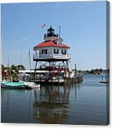 Solomons Island - Drum Point Lighthouse Reflecting Canvas Print