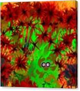 Someone Peers Between The Flowers In The Jungle Canvas Print