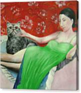 Sorcerer And Her Cat Canvas Print