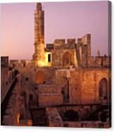Sound And Light Show At Jerusalem City Canvas Print