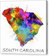 South Carolina Map Color Splatter Canvas Print