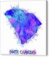 South Carolina Map Watercolor 2 Canvas Print