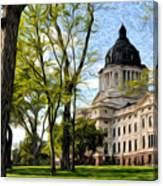 South Dakota Capitol Oil Painting Canvas Print