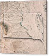 South Dakota State Usa 3d Render Topographic Map Neutral Border Canvas Print