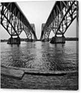 South Grand Island Bridge In Black And White Canvas Print