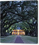 Southern Manor Home At Night Canvas Print
