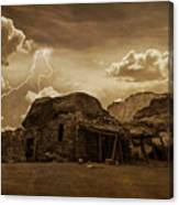 Southwest Navajo Rock House And Lightning  Canvas Print