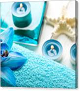 Spa Still Life With Towel And Candles Canvas Print