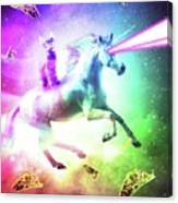 Space Cat Riding Unicorn - Laser, Tacos And Rainbow Canvas Print