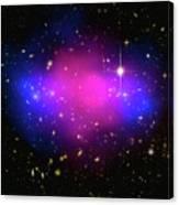 Space Image Galaxy Cluster Purple Blue Black Canvas Print