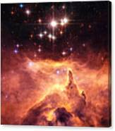 Space Image Orange And Red Star Cluster With Blue Stars Canvas Print