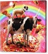 Space Pug Riding Cow Unicorn - Pizza And Taco Canvas Print