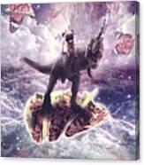 Space Pug Riding Dinosaur Unicorn - Pizza And Taco Canvas Print