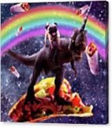 Space Pug Riding Dinosaur Unicorn - Taco And Burrito Canvas Print