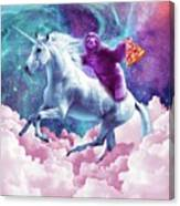 Space Sloth On Unicorn - Sloth Pizza Canvas Print