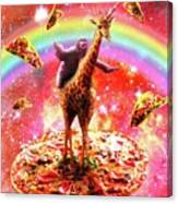Space Sloth Riding Giraffe Unicorn - Pizza And Taco Canvas Print