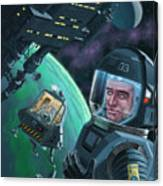Spaceman With Space Station Orbiting Green Planet Canvas Print