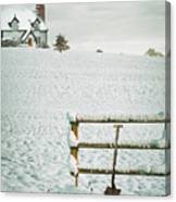 Spade Leaning Against Fence In The Snow Canvas Print